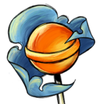 Lollipop Cloud logo is an orange lollipop with a blue wrapper in the background.