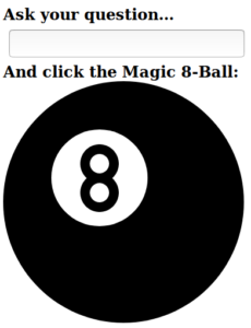 Screenshot of a Magic 8-Ball app